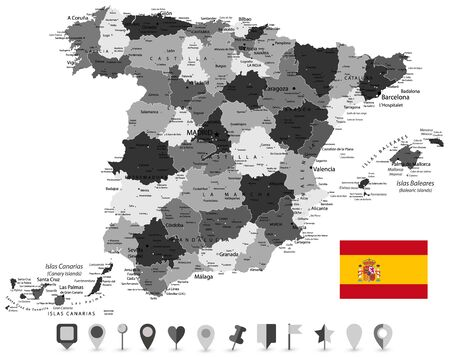 Map of Spain and Flat Map Icons. All elements are separated in editable layers clearly labeled. Vector illustration.