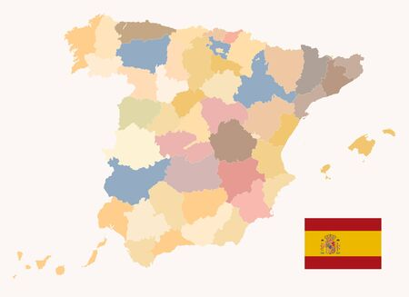 Political Map of Spain Old Colors. All elements are separated in editable layers clearly labeled. Vector illustration. Illustration