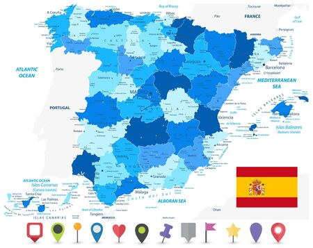 Spain Administrative Divisions Map Blue Color and Flat Map Icons. All elements are separated in editable layers clearly labeled. Vector illustration.