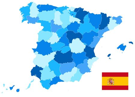 Spain Administrative Divisions Map Blue Color Isolated On White. Empty map. All elements are separated in editable layers clearly labeled. Vector illustration. Illustration