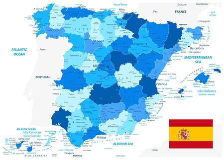 Spain Administrative Divisions Map Blue Color. All elements are separated in editable layers clearly labeled. Vector illustration.
