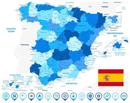 Spain Administrative Divisions Map Blue Colors and Blue Map Icons. All elements are separated in editable layers clearly labeled. Vector illustration.