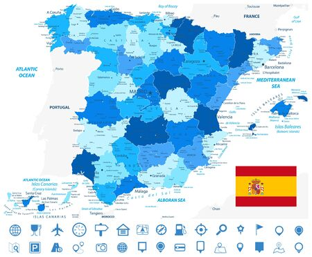 Spain Administrative Divisions Map Blue Colors and Navigation Icons. All elements are separated in editable layers clearly labeled. Vector illustration. Illustration