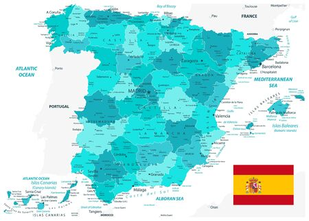 Spain Administrative Divisions Map. Teal Colors. All elements are separated in editable layers clearly labeled. Vector illustration.
