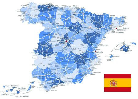 Spain Administrative Map and Roads Blue Colors. All elements are separated in editable layers clearly labeled. Vector illustration.