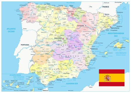 Spain Administrative Divisions Map and Roads. All elements are separated in editable layers clearly labeled. Vector illustration.