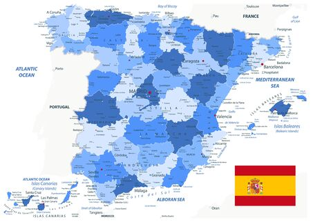 Spain Administrative Map Blue Colors. All elements are separated in editable layers clearly labeled. Vector illustration.