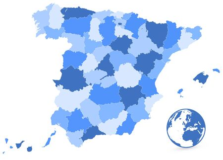 Spain Blue Map Isolated On White. No text. All elements are separated in editable layers clearly labeled. Vector illustration. Illustration