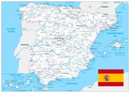 Spain Detail Map White Color. All elements are separated in editable layers clearly labeled. Vector illustration.