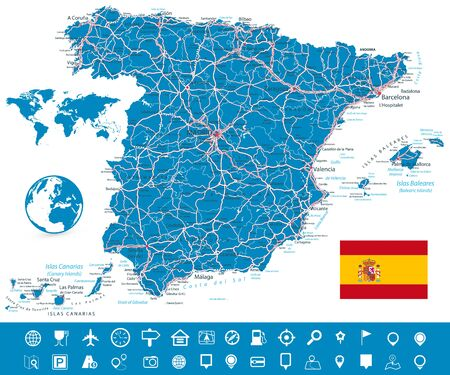 Spain Map and Roads with Navigation Icon Set. All elements are separated in editable layers clearly labeled. Vector illustration.
