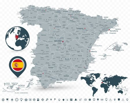 Spain Map and World Map isolated on transparent background. All elements are separated in editable layers clearly labeled. Vector illustration.