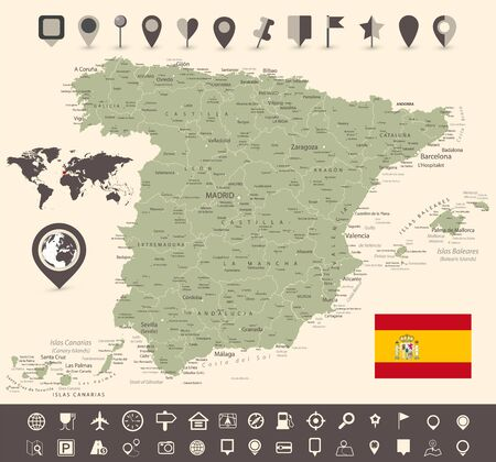 Spain Map and World Map with Navigation Icon Set. All elements are separated in editable layers clearly labeled. Vector illustration.