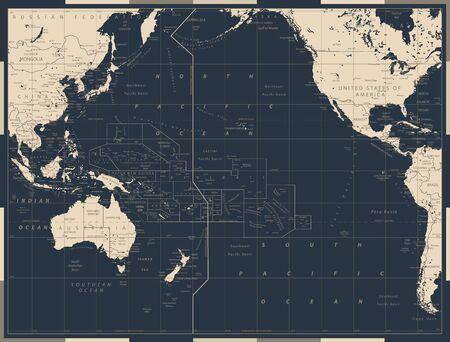 Pacific Ocean Political Map Old Vintage Color. Detailed Pacific Ocean Vector Map. Vector illustration.