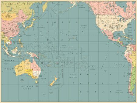 Pacific Ocean Political Map Vinatge Color. Detailed Pacific Ocean Vector Map. Vector illustration.