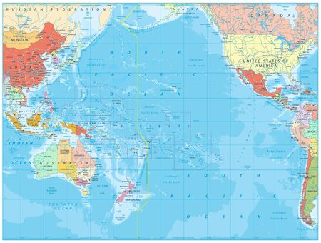 Pacific Ocean Political Map and bathymetry. Detailed Pacific Ocean Vector Map. Vector illustration.