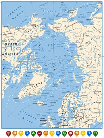 Arctic Ocean Political Map and flat map pointers. Highly detailed vector illustration.