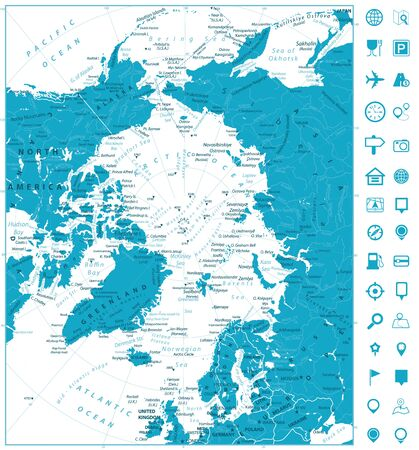 Arctic Ocean Map and navigation icons. Highly detailed vector illustration. Illusztráció