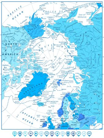 Arctic Ocean Map In Colors of Blue and Map Pointers. Highly detailed vector illustration. Illusztráció