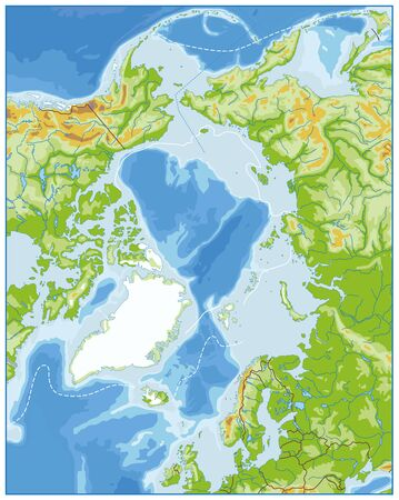 Arctic Ocean Physical Map. No text. Highly detailed vector illustration.
