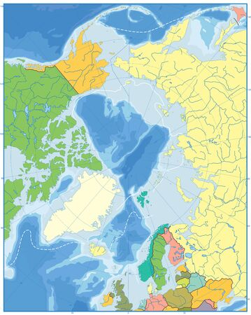 Arctic Ocean Political Map. No text. Highly detailed vector illustration.