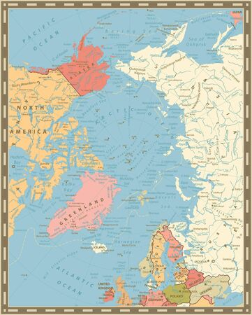 Arctic Ocean Political Map. Vintage colors. Highly detailed vector illustration.