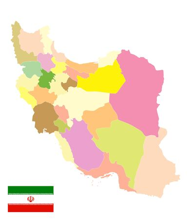 Administrative Political Map of Iran Isolated On White. No text. Image contains layers with outline contours.