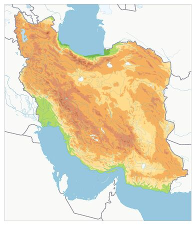 Empty Physical map of Iran. Image contains layers with shaded contours, water objects. Illusztráció