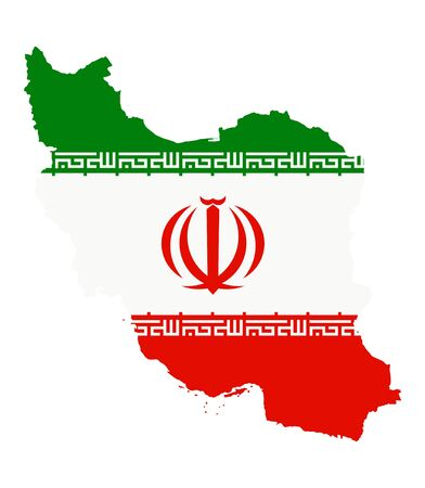 Iran Flag inside map of Iran on white background. Vector illustration. Illusztráció