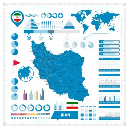 Iran Map and Infographic Elements. Vector illustration.