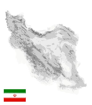 Iran Physical Map White and Gray Colors Isolated On White. No text. All elements are separated in editable layers clearly labeled. Vector illustration.