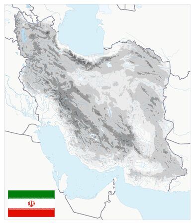 Iran Physical Map White and Gray Colors. No text. All elements are separated in editable layers clearly labeled. Vector illustration. Illusztráció