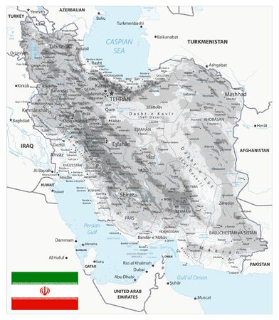 Iran Physical Map White and Gray Colors. All elements are separated in editable layers clearly labeled. Vector illustration. Illusztráció
