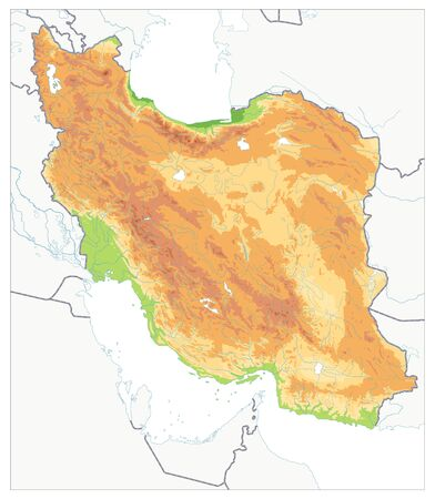 Physical map of Iran Isolated On White. No text. Image contains layers with shaded contours, water objects.
