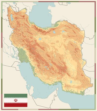 Physical map of Iran Old Colors. Empty map. Image contains layers with shaded contours, land names, city names, water objects and it's names.