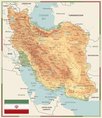 Physical map of Iran Old Colors. Image contains layers with shaded contours, land names, city names, water objects and it's names.