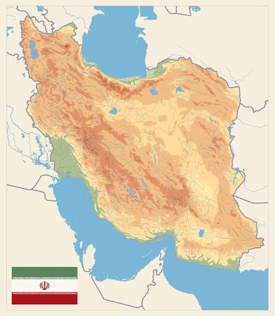 Physical map of Iran Retro Colors. No text. Image contains layers with shaded contours, land names, city names, water objects and it's names. Illusztráció