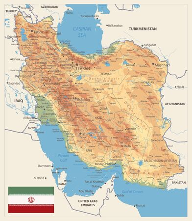 Physical map of Iran Retro Colors. Image contains layers with shaded contours, land names, city names, water objects and it's names.