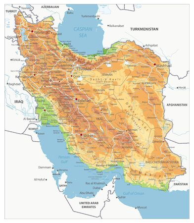 Highly Detailed Physical Map of Iran. Image contains layers with shaded contours, land names, city names, water objects and it's names, highways. Illusztráció