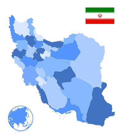 Political Map of Iran Blue Colors Isolated On White. No text. Image contains layers with outline contours.
