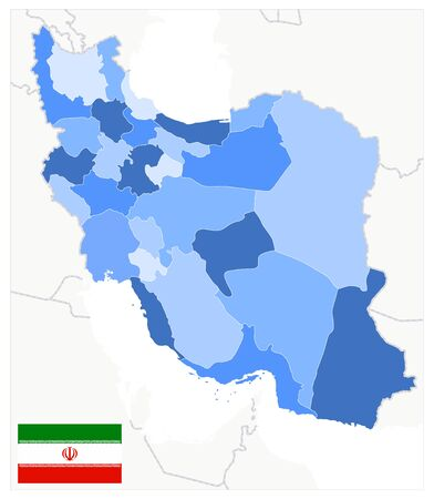 Political Map of Iran Blue Colors. No text. Image contains layers with outline contours.