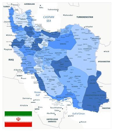 Political Map of Iran Blue Colors. Image contains layers with outline contours, land names, city names. Illusztráció