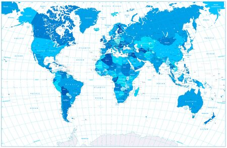 World Map in colors of blue. Highly detailed vector illustration of World Map.