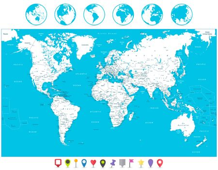 White color World Map and navigation icons. Highly detailed map illustration with countries, cities and navigation symbols.