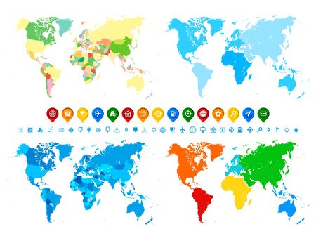 World maps collection and navigation icons in different colors and its different assignment. Blank Political World Map; blank World Map in different colors of blue; blank World Map with different colorful continents colors; blank World Map with continents in colors of blue. Illusztráció