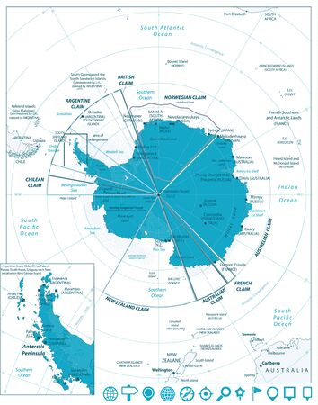 Arctic Region Map and Navigation Icons with south pole, scientific research stations and ice shelfs. English labeling and scaling.