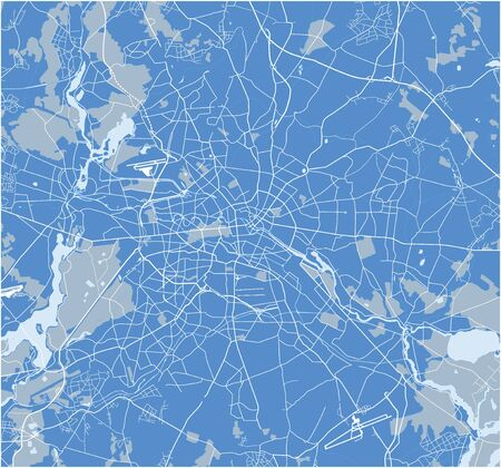 Abstract Berlin street map blue. Vector.
