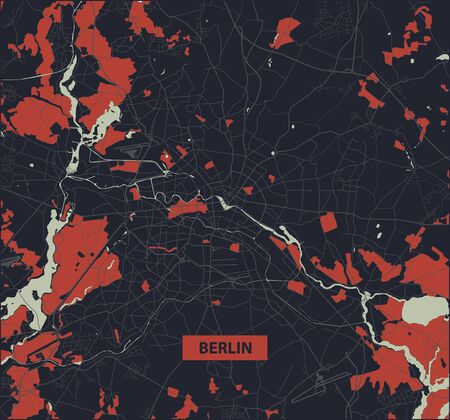 Berlin city map - Streets of Berlin - Germany. Street map. Vector illustration.