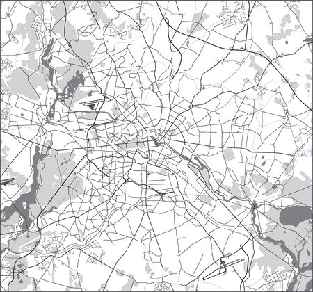 Berlin street map black and white. Vector.