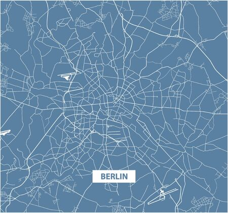 Blue color street map of Berlin. Vector illustration.