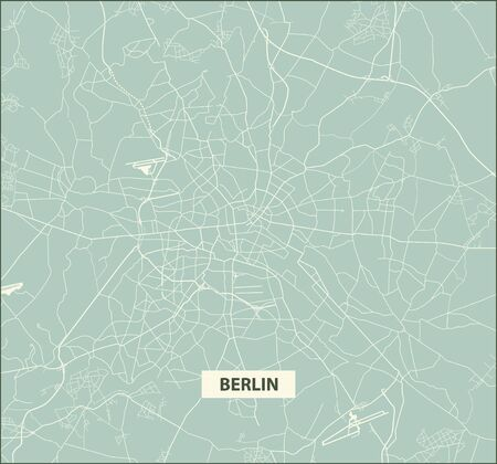Old style city map of Berlin  - Streets of Berlin - Germany. Street map. Vector illustration.